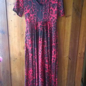 Red Leopard Satin Maxi Dress
